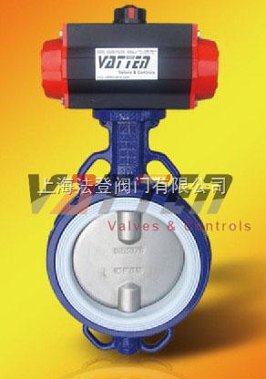 D671F-气动半衬对夹式蝶阀、衬氟气动蝶阀