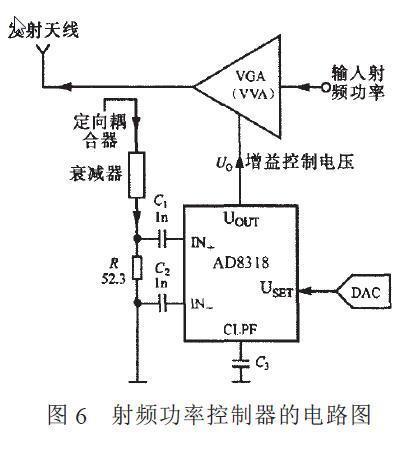 由ad8318构成射频功率控制器的电路如图6所示.