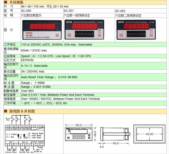sc-260 sc-261阳明sc-2x多功能计数器